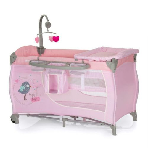 New Hauck Baby centre Playpen Travel cot+musical mobile+changer in Pink Birdie